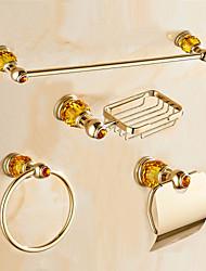 Contemporary Gold Diamonds Brass 4PCS Bathroom Accessory Set  Towel Bar Towel Ring Soap Holder Paper Holder