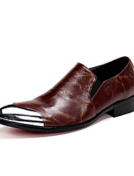 Men's Loafers & Slip-Ons Club Shoes Cowhide Party & Evening Metallic toe Brown Walking