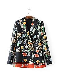 Для женщин На каждый день Весна осень Куртка Рубашечный воротник,Уличный стиль С принтом Обычная Длинный рукав,Нейлон Others,Заклепки