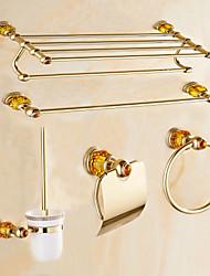 Contemporary Gold Diamonds Brass 5PCS Bathroom Accessory Set  Towel Shelf Towel Bar Towel Ring Brush Paper Holder