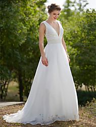 A-Linie Tiefer Ausschnitt Pinsel Schleppe Organza Hochzeitskleid mit Perle Drapiert durch LAN TING BRIDE®