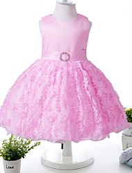 Ball Gown Knee-length Flower Girl Dress - Polyester Satin Jewel with Appliques Bow(s) Pearl Detailing