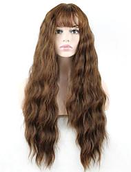 Mujer Pelucas sintéticas Sin Tapa Largo Ondulado Marrón Con flequillo Peluca natural Peluca de Halloween Peluca de carnaval Las pelucas