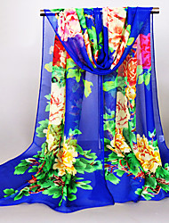 Womens Fashion Georgette Silk Cartoon Rich Multicolored Decorations Print Floral Scarfs 160*50CM