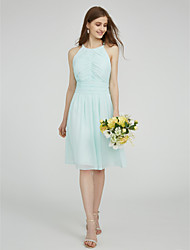 LAN TING BRIDE Knee-length Jewel Bridesmaid Dress - Beautiful Back Sleeveless Chiffon