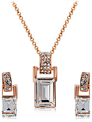 Earrings Set Necklace Pendants Crystal AAA Cubic Zirconia Euramerican Fashion Crystal Cubic Zirconia Alloy Square1 Necklace 1 Pair of