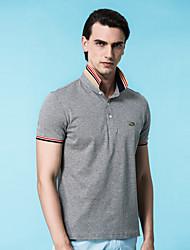 Tee-shirt Homme,Couleur Pleine Décontracté / Quotidien simple Printemps Manches Courtes Col Arrondi Cuirs Particuliers Opaque