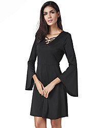 Lztlylzt Women's Party Club Sexy Sheath Little Black DressSolid V Neck Above Knee Long Sleeve Polyester Spring Summer High Rise Inelastic Thin
