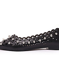 Women's Flats Summer Comfort PU Outdoor Flat Heel Beading Champagne Red Black Walking