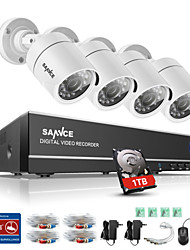 SANNCE® 4CH 4PCS 720P HD Camera 1080N HDMI VGA DVR & Waterproof Home Surveillance Security System 1TB  IR Night Vision