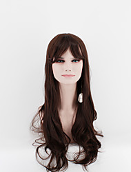 Japan and South Korea latest fashion lady long wigs dark brown sub-natural wave high temperature wire wig