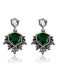Brincos em Argola Cristal Personalizado Euramerican Forma Geométrica Verde Escuro Jóias Para 1 par