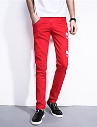 Men's Low Rise Micro-elastic Chinos Pants,Simple Slim Print