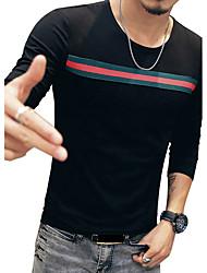 Hombre Simple Casual/Diario Vacaciones Tallas Grandes Para Todas las Temporadas Camiseta,Escote Redondo A Rayas Manga Larga Algodón Licra
