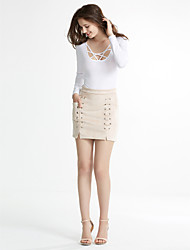 Women's Lace up Bodycon Solid Criss-Cross Suede SkirtsCasual/Daily / Club Simple / Street chic Mid Rise Above Knee Elasticity Micro-elastic