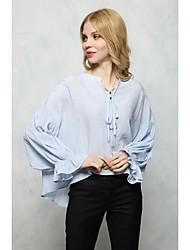Damen Solide Sexy Einfach Street Schick Ausgehen Lässig/Alltäglich T-shirt,V-Ausschnitt Sommer Herbst Langarm Baumwolle Mittel