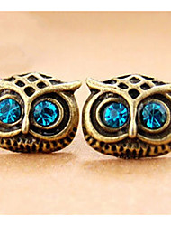 Euramerican Fashion Delicate Rhinestone Eyes Vintage The Owl Earrings Small Copper lovely Female Halloween Earrings Statement Jewelry