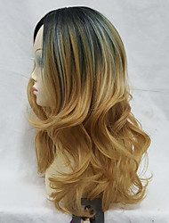 Long Layered Wave Golden Ombre Women's Full Synthetic Wigs