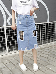 Women's High Rise Knee-length Skirts A Line Solid
