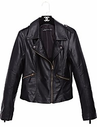 Women's Going out Simple Spring Leather Jacket,Solid Shirt Collar Short Cowhide