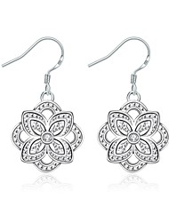 Women's Drop Earrings Imitation Diamond Floral Silver Plated Flower Jewelry ForWedding Party Special Occasion Halloween Anniversary