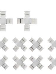 10ks balení x tvar křížení bez pájení bezpapírová 4vodičová lišta konektor pro rychlé rozdělovač připojení 10mm široký 5050 rgb flex led