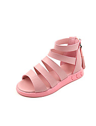 Girls' Sandals Summer Gladiator Comfort Leatherette Outdoor Office & Career Party & Evening Casual Flat Heel Zipper TasselBlushing Pink