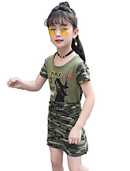 Girl's Casual/Daily Sports Print Dress,Cotton Summer Short Sleeve