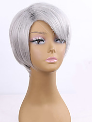 European Wigs Grey Color Straight BOBO Wigs For Cosplay Synthetic Wig