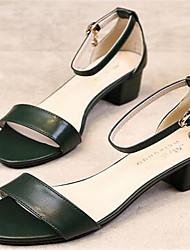 Damen-High Heels-Lässig-PU-Stöckelabsatz-Fersenriemen-Schwarz