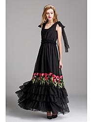 Mujer Corte Swing Vestido Fiesta/Cóctel Bonito,Un Color Escote en Pico Maxi Sin Mangas Poliéster Primavera Verano Tiro Medio Rígido Medio