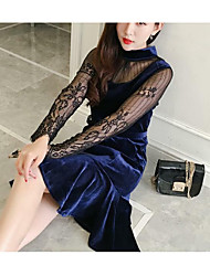 Sign new winter sexy perspective lace stitching long-sleeved velvet dress women fishtail skirt