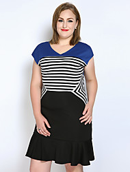 Really Love Women's Plus Size Casual/Daily Party Sexy Vintage Street chic A Line Sheath T Shirt Dress,Striped Color Block V Neck Above KneeShort