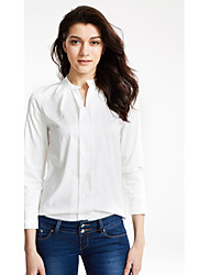 Women's Solid White Shirt , V Neck Long Sleeve