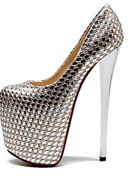 Damen-High Heels-Party & Festivität-PU-Stöckelabsatz-Club-Schuhe-Silber