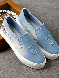Women's Loafers & Slip-Ons Spring Fall Moccasin Canvas Casual Creepers Light Blue Navy Blue