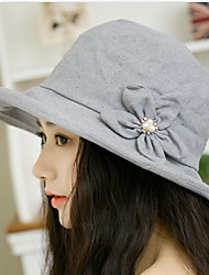 Women Foldable Flowers Pearls Summer Ladies Anti-UV Thin Fisherman Dome Sunshade Cloth Hat