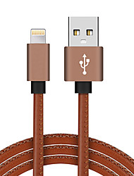 Lightning USB 2.0 Trenzado Alta Velocidad Chapado en Oro Cable Para iPhone iPad MacBook MacBook Air MacBook Pro cm Cuero Sintético
