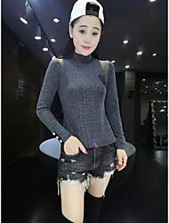 Feminino Camiseta Casual VintageSólido Outros Colarinho Chinês Manga Longa