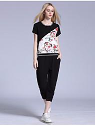Women's Casual/Daily Cute T-shirt Pant Suits,Print U Neck Short Sleeve Micro-elastic