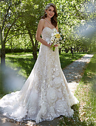 LAN TING BRIDE A-line Wedding Dress - Elegant & Luxurious Open Back Court Train Sweetheart Lace with Flower Sash / Ribbon