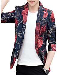 Men's Casual/Daily Work Simple Spring Fall BlazerFloral V Neck Regular Cotton Polyester k478