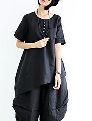Damen Solide Einfach Ausgehen T-shirt,Rundhalsausschnitt ½ Länge Ärmel Polyester