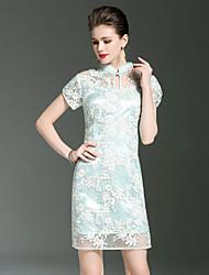 Feminino Tubinho Bainha Vestido,Para Noite Festa/Coquetel Tamanhos Grandes Sensual Simples Sofisticado Bordado Colarinho ChinêsAcima do