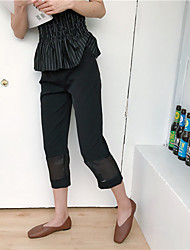 Women's Mid Rise Inelastic Business Pants,Simple Straight Solid