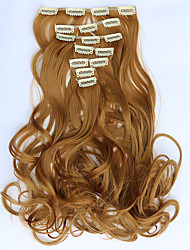 7pcs/Set 130g  Strawberry Blonde Wavy 50cm Hair Extension Clip In Synthetic Hair Extensions