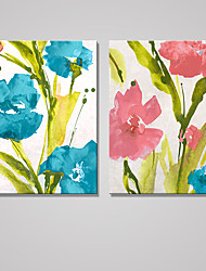 Stretched Canvas Print Floral/Botanical Modern Pastoral,Two Panels Canvas Vertical Print Wall Decor For Home Decoration