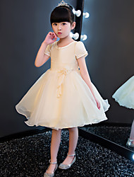Princess Knee-length Flower Girl Dress - Cotton Tulle Satin Chiffon Jewel with Beading Flower(s)