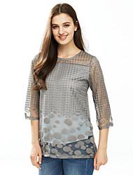 Damen Solide Sexy Lässig/Alltäglich T-shirt,Rundhalsausschnitt Sommer / Herbst ¾-Arm Rot / Weiß / Schwarz / Grau Polyester Mittel