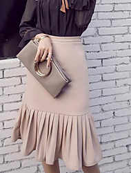 Women's High Rise Asymmetrical Skirts Pencil Solid